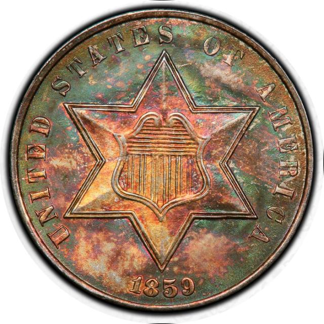 1859 3CS Three Cent Silver PCGS MS66 #3347-11