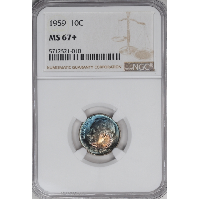 1959 Roosevelt Dime (Silver) 10C NGC MS67+ 3294-16
